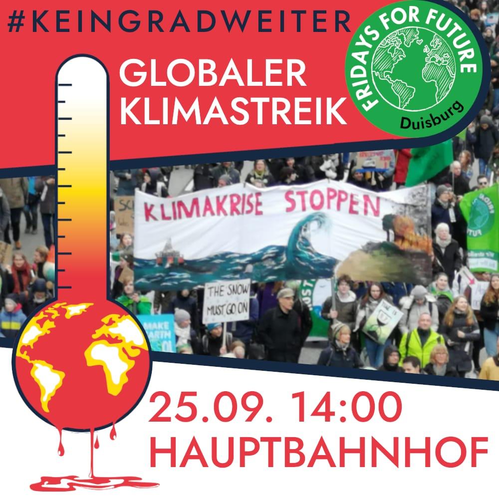 #KeinGradWeiter Globaler Klimastreik 25.09. 14:00 Hauptbahnhof