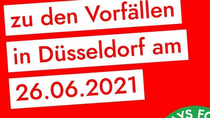 Sharepic: Stellungnahme zu den Vorfällen in Düsseldorf am 26.06.2021